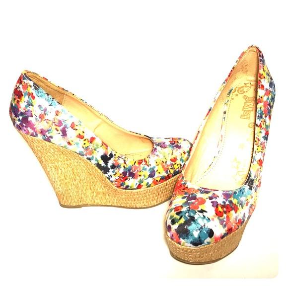 Brash Shoes Floral Wedges Poshmark